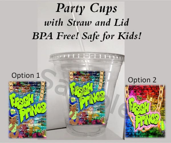 Hip Hop Baby The Fresh Prince Clear Plastic Cup with Straw and Lid, 12oz Cup, Party Cups, Fresh Prince Baby Shower Theme Party Cups, BPA Free