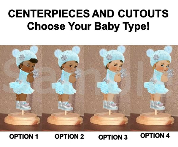 Winter Ice Princess Baby Girl Centerpiece with Stand OR Cut Outs, Oh Baby It's Cold Baby Shower Centerpieces, Blue White Silver Boots Cold