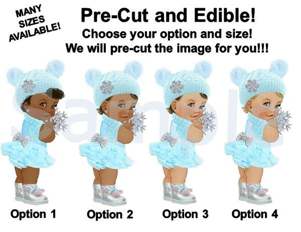 Winter Ice Princess Baby Girl EDIBLE Image for Cake or Cupcakes, Oh Baby It's Cold Outside Theme, Winter Baby Cake, Blue White Silver Boots