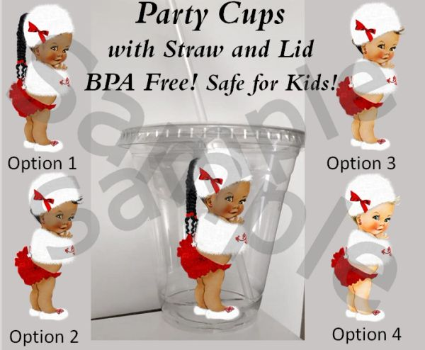Winter Princess Baby Girl Clear Plastic Cup w/ Straw and Lid, 12oz Cup, Oh Baby It's Cold Theme Cups, Baby Shower Winter Cups, BPA Free