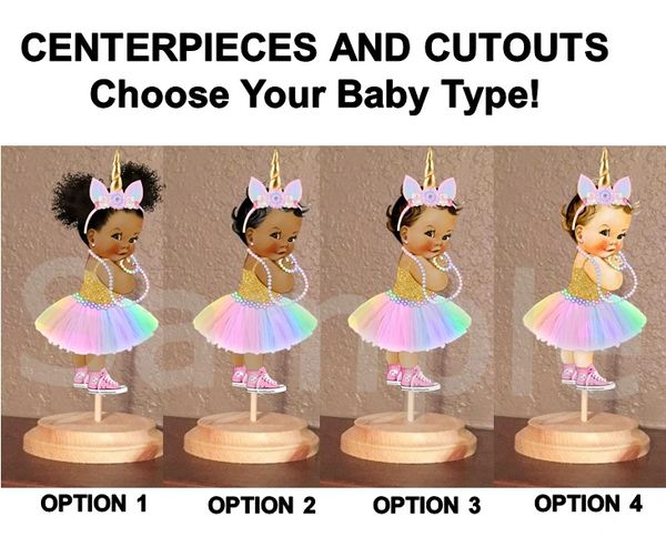 Unicorn Princess Pink Sneakers Centerpiece with Stand OR Cut Outs, Baby Shower Centerpieces Unicorn Baby