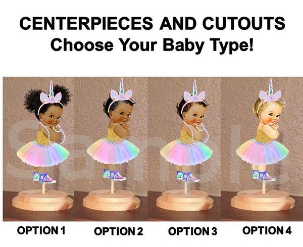 Unicorn Princess Baby Girl Centerpiece with Stand OR Cut Outs, Baby Shower Unicorn Centerpieces