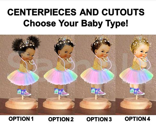Princess Tiara Baby Girl Centerpiece with Stand OR Cutouts, Princess Baby Shower Centerpieces, Pastel Rainbow Sneakers, 3 Skin Tones Baby