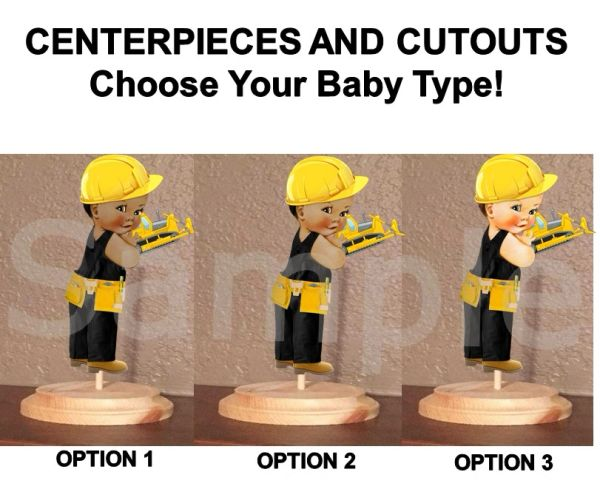 Little Prince Construction Baby Boy Centerpiece with Stand OR Cutouts, Constructions Baby Centerpieces, Black Overalls Hard Hat, Baby Cutout