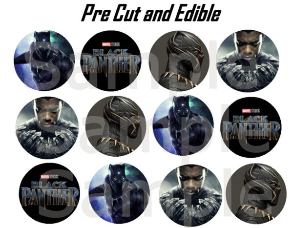 Black Panther Avengers Edible Cupcake Cookie Toppers, Black Panther Edible Images