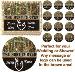 THE HUNT IS OVER Woods Mossy Oak Camo Edible Cake Topper Image Frosting Sheet