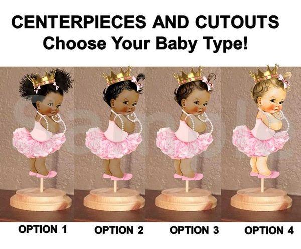 Princess Ballerina Tutu Baby Centerpiece with Stand OR Cutouts, Light Pink Ballerina Gold Crown