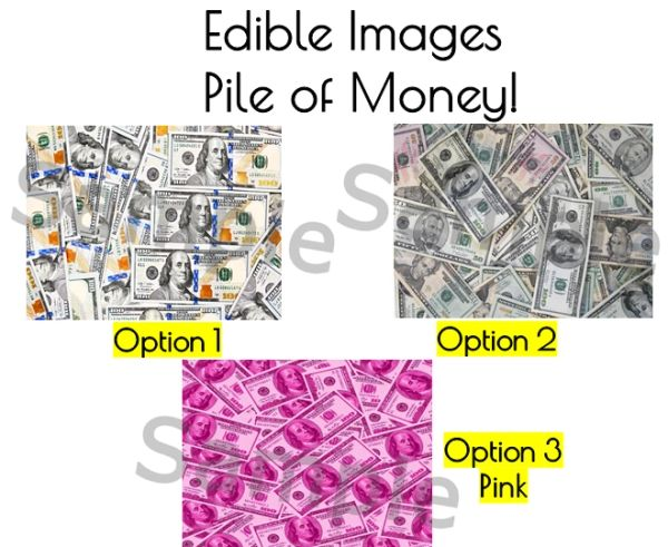 Pile of Money Edible Image for Cake and Cupcakes, Edible Money Cake Image, Pink Pile of Bills, Pink Money Bills