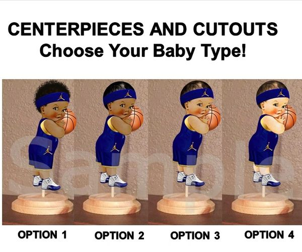 Little Prince Baby Basketball Boy Centerpiece with Stand OR Cut Outs, Navy Blue Gold Jordan, Baby Shower Centerpieces