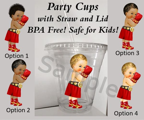 Little Prince Boxer Boy Clear Plastic Cup w/ Straw and Lid, 12oz Cup, BPA Free, Red Gold