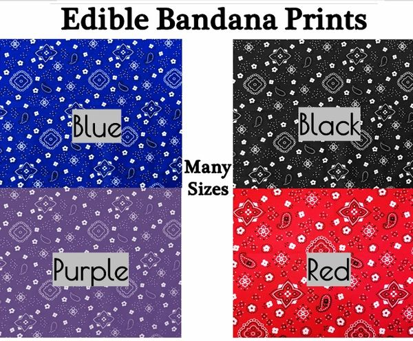 Bandanna Paisley Print Edible Cake Topper Image or Strips, Royal Blue, Black, Purple, Red, Bandanna Cake, Bandanna Cupcakes, Bandanna Edible