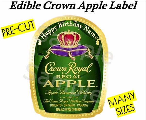 Crown Royal Regal Apple EDIBLE Label Image for Desserts, Whiskey Edible Label, Personalized Liquor Label