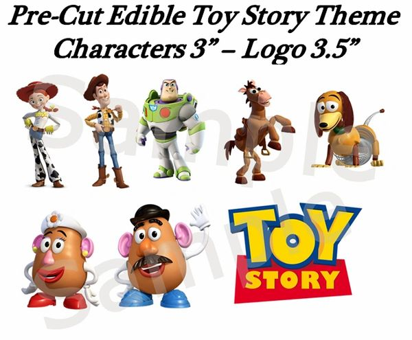 Toy Story Characters Edible Cake Cupcake Stickers Decals, Pre-Cut Toy Story Edible Images