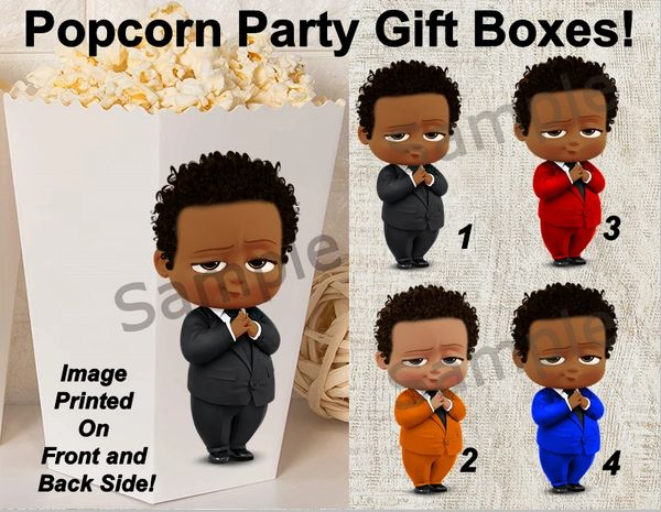 Boss Baby Boy Popcorn Gift Party Boxes, Candy Boxes, African American Boss Baby Boxes
