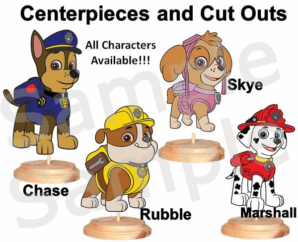 Paw Patrol Characters Centerpieces with Stand, Cake Topper or Cut Outs, Chase Everest Marshall Rocky Rubble Ryder Skye Zuma