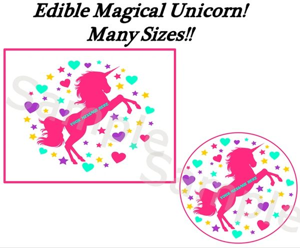 Magical Unicorn Hearts Stars Edible Cake Topper Image, Unicorn Cake, Unicorn Cupcakes, Unicorn Edible Image, Unicorn Birthday Decoration