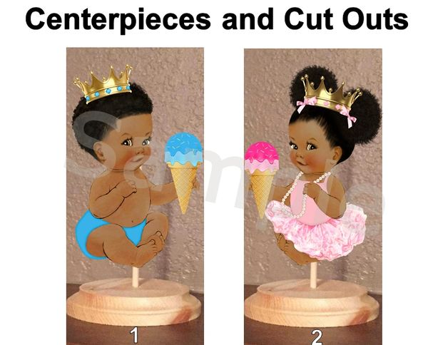 Little Prince and Princess Centerpieces with Stand OR Cut Outs, Ice Cream Cone Gender Reveal Centerpieces, What's the Scoop Baby Boy Girl