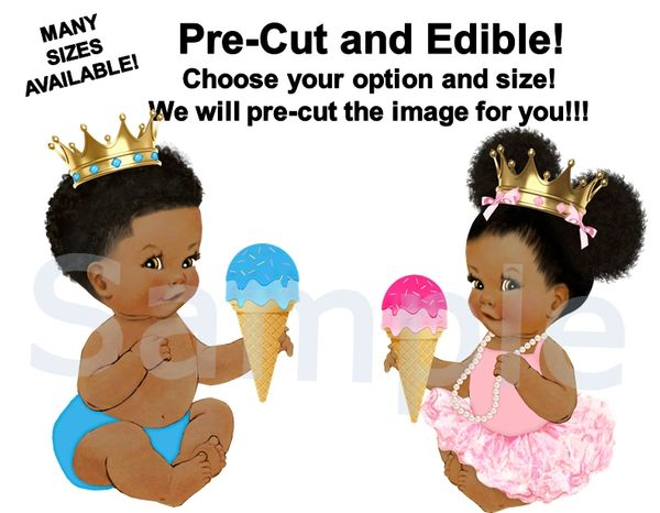 Little Prince and Princess EDIBLE Cake Topper Image Cupcakes, What's the Scoop Theme, Gender Reveal Twins, Ice Cream Cone Baby Girl Boy Twin