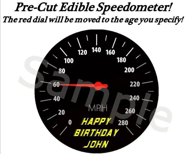 Racing Speedometer EDIBLE Cake Cupcake Image Topper, Speeding Cake, Sweet 16 Cake, Racing Cake, Motorcycle Speed Cake, Dial Points to Age