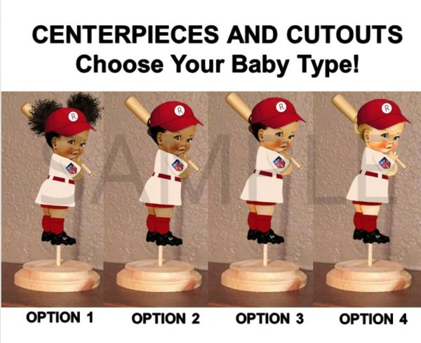 League of Their Own Baseball Baby Girl Centerpiece with Stand OR Cut Outs, Red Ivory Cap