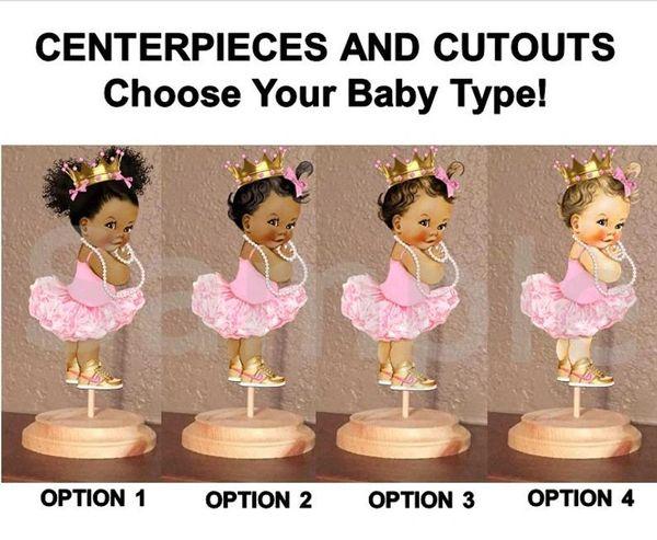 Princess Ballerina Tutu Baby Centerpiece with Stand OR Cutouts, Light Pink Ballerina Gold Nikes