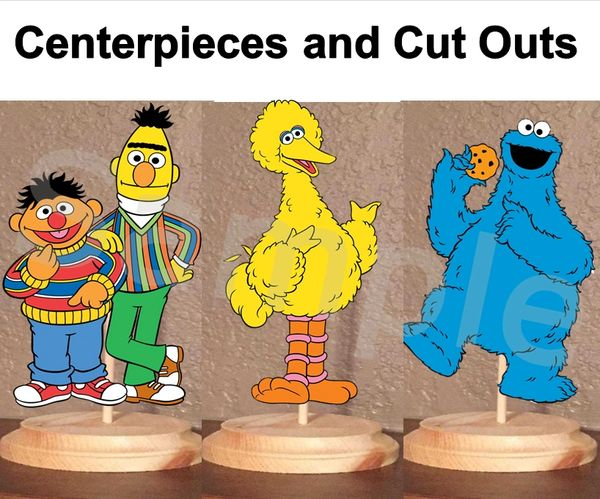 Sesame Street Characters Centerpieces with Stand or Cut Outs, Bert Ernie Big Bird Cookie Monster