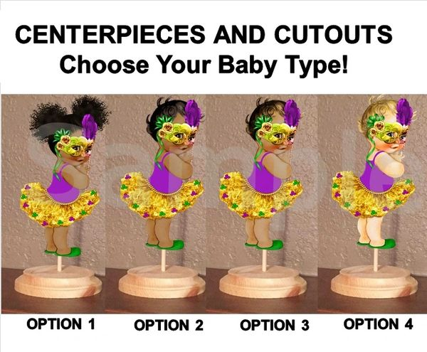 Mardi Gras Baby Girl Centerpiece with Stand OR Cutouts, Mardi Gras Baby Centerpieces