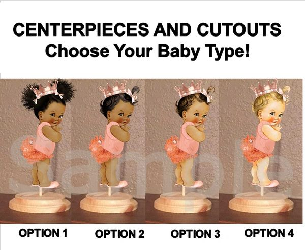 Princess Ruffle Pants Baby Girl Centerpiece with Stand OR Cutouts, Rose Gold Ruffles Crown, Baby Centerpieces