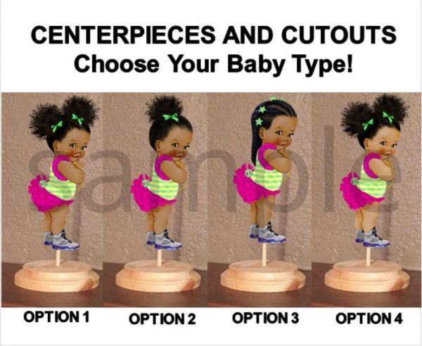 Fresh Princess Baby Girl Centerpieces with Stand OR Cut Outs, Baby Shower Centerpieces, Fresh Prince Princess Theme