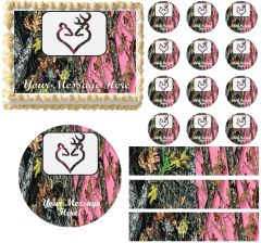 Mossy Oak Pink Mossy Oak WEDDING BUCK DOE Edible Cake Topper Image Frosting Sheet