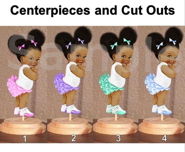 Ruffle Pants Natural Hair Baby Girl Centerpiece with Stand OR Cut Outs, Cake Toppers, Table Centerpieces, Pink Mint Lavender Blue