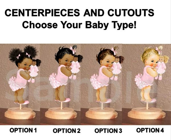 Ruffle Pants Baby Doll Girl Baby Centerpiece with Stand OR Cut Outs, Cake Toppers, Table Centerpieces, Blush Pink Baby Doll