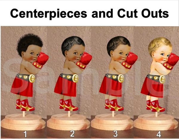 Little Prince Boxer Baby Centerpieces with Stand OR Cut Outs, Boxer Baby Centerpieces, Red and Gold Boxer Baby, Boxing Centerpieces