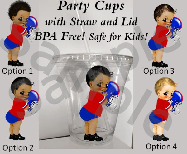 Football Player Baby Boy Clear Plastic Cup with Straw and Lid, 12oz Cup, BPA Free, Red Blue Jersey Helmet