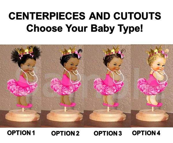 Royal Princess Ballerina Baby Girl Centerpieces with Stand OR Cut Outs, Baby Shower Centerpieces, Hot Pink Gold Crown