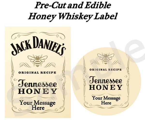Jack Daniel's Tennessee Honey Whiskey EDIBLE Label Image for Desserts, Personalized Liquor Labels