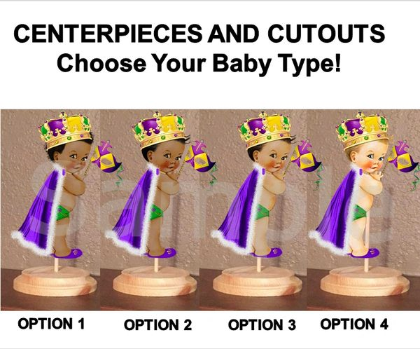 Mardi Gras Baby Boy Centerpiece with Stand OR Cutouts, Mardi Gras Baby Centerpieces