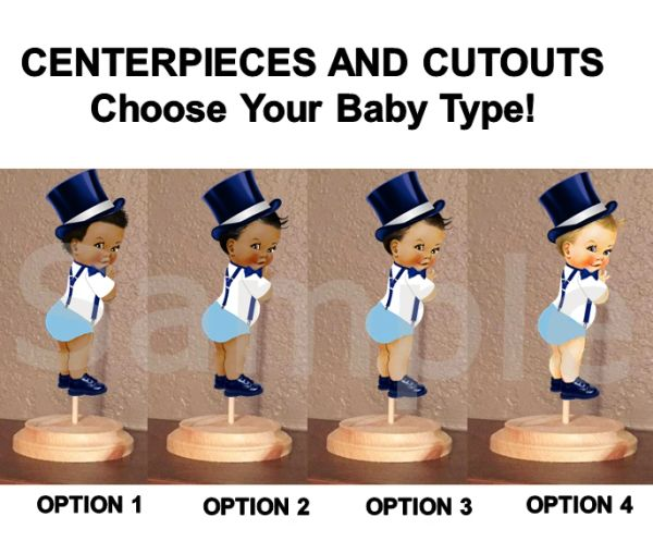 Top Hat Little Man Prince Baby Boy Centerpiece with Stand or Cutouts, Blue Navy White, Little Gentleman Centerpieces