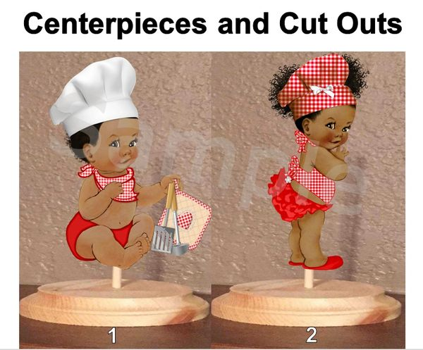Little Chef Twins Baby Boy and Girl Centerpiece with Stand OR Cut Outs, Red White Gingham Check Print, Chef Baby Centerpieces