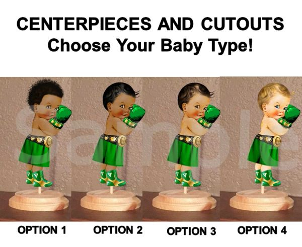 Little Prince Boxer Baby Centerpieces with Stand OR Cut Outs, Boxer Baby Centerpieces, Emerald Green and Gold