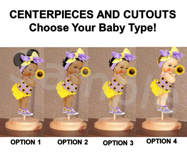 Sunflower Baby Girl Centerpiece with Stand OR Cut Outs, Baby Shower Centerpieces, Purple Yellow Big Bow