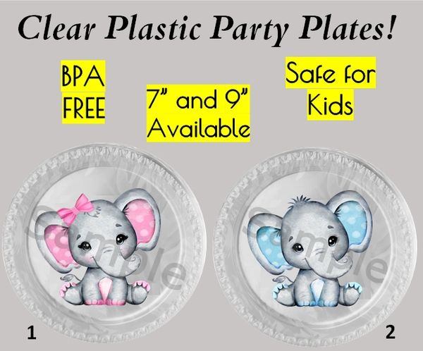 "Little Peanut Baby Elephant Plastic Party Plates, 7"" Dessert Plates, 9"" Dinner Plates, Set of 6"