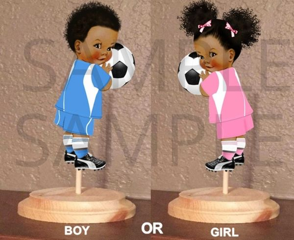 Gender Reveal Soccer Twins Centerpieces with Stand OR Cut Outs, Pink and Blue Soccer Babies, Baby Shower Centerpieces