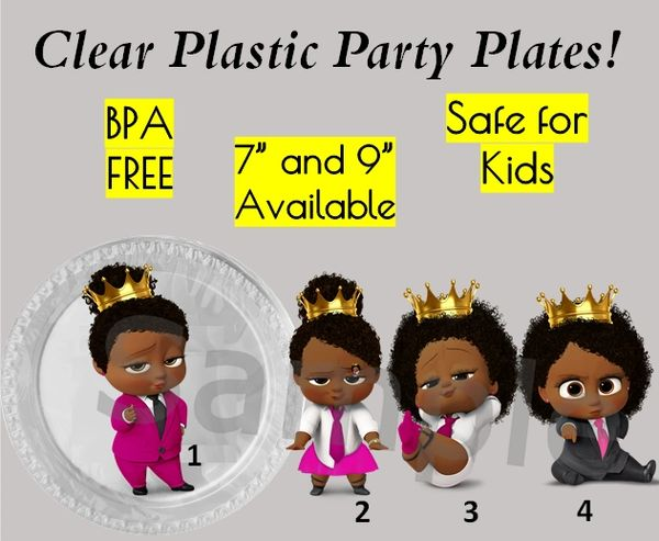 "Princess Crown Boss Baby Girl Plastic Party Plates, 7"" Dessert Plates, 9"" Dinner Plates, Set of 6"