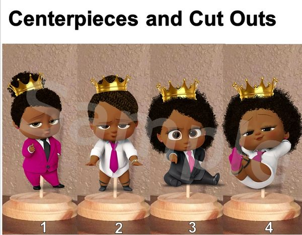 Princess Boss Baby Girl with Crown Centerpiece with Stand OR Cut Outs, Fuschia Pink Black