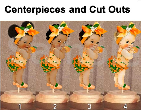 Little Cutie Orange Baby Girl Centerpiece with Stand OR Cut Outs, Orange Green Big Bow, Baby Shower Cutie Centerpieces, Afro Cutie Baby Cuts