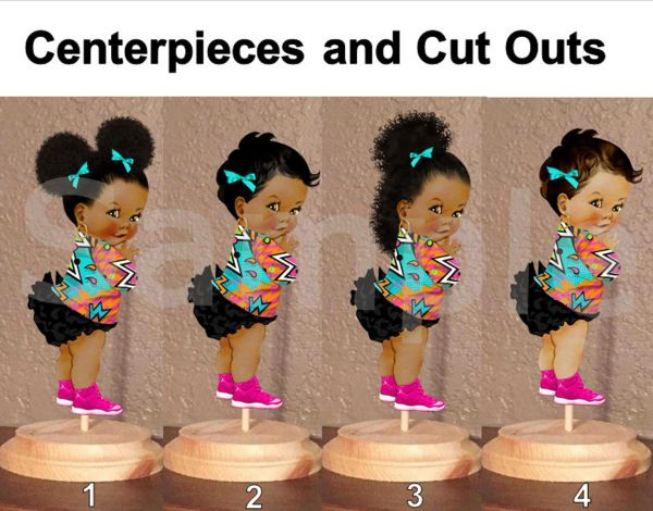 Hip Hop Graffiti Jacket Baby Girl Centerpiece with Stand OR Cut Outs, Baby Shower Hip Hop Cutouts, Pink Sneakers