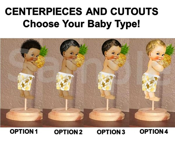 Hawaiian Island Tropical Little Prince Centerpiece with Stand OR Cut Outs, Baby Shower Hawaiian Pineapple Centerpieces