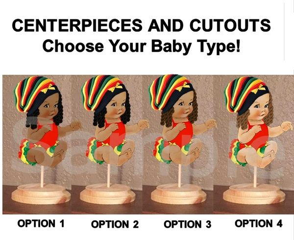 Hip Hop Reggae Baby Girl Centerpiece with Stand OR Cut Outs, Baby Shower Hip Hop Cutouts, Reggae Rasta Hat Dreadlocks