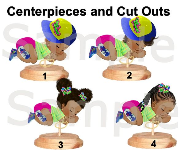 Sleeping Fresh Princess Baby Girl Centerpieces with Stand OR Cut Outs, Baby Shower Centerpieces, Fresh Prince Princess Theme